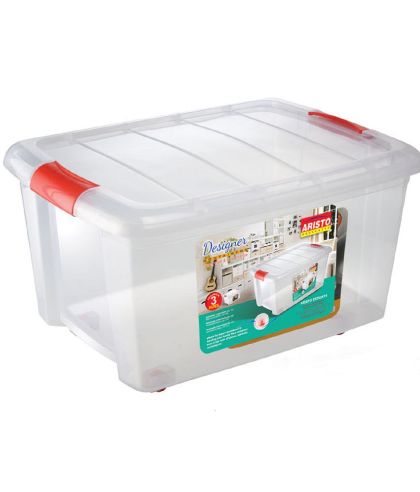 558532b606c5 Aristo Plastic Storage Container Box With Wheels And Side Locking Handles  (Capacity 70 ltr)