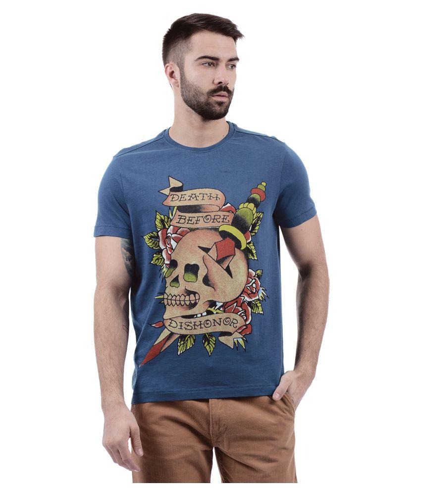 Ed Hardy Blue Round T-Shirt