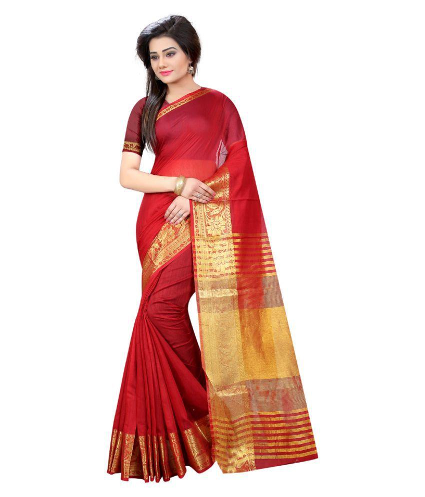 Indian Robe Red Cotton Saree