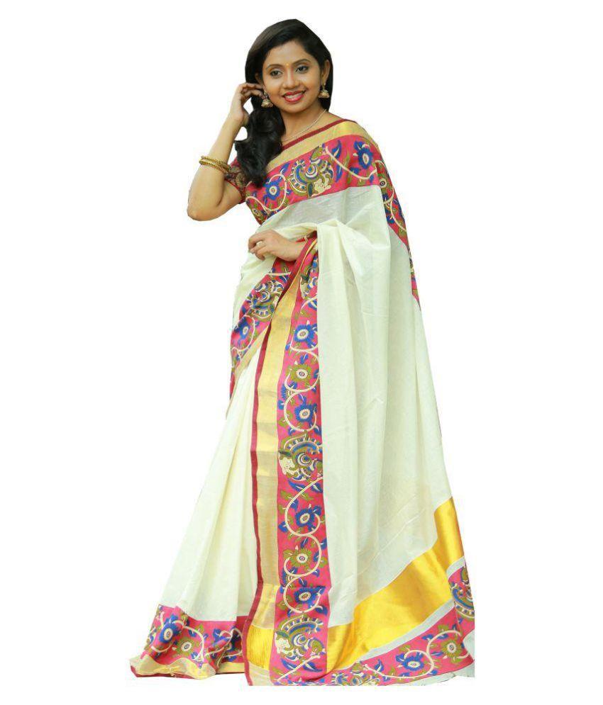 Masterweaverindia White Cotton Saree