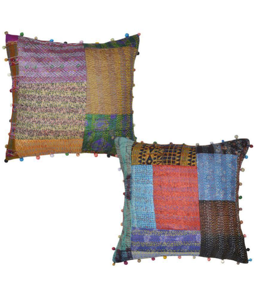 Lal Haveli Set of 2 Silk Cushion Covers 40X40 cm (16X16)
