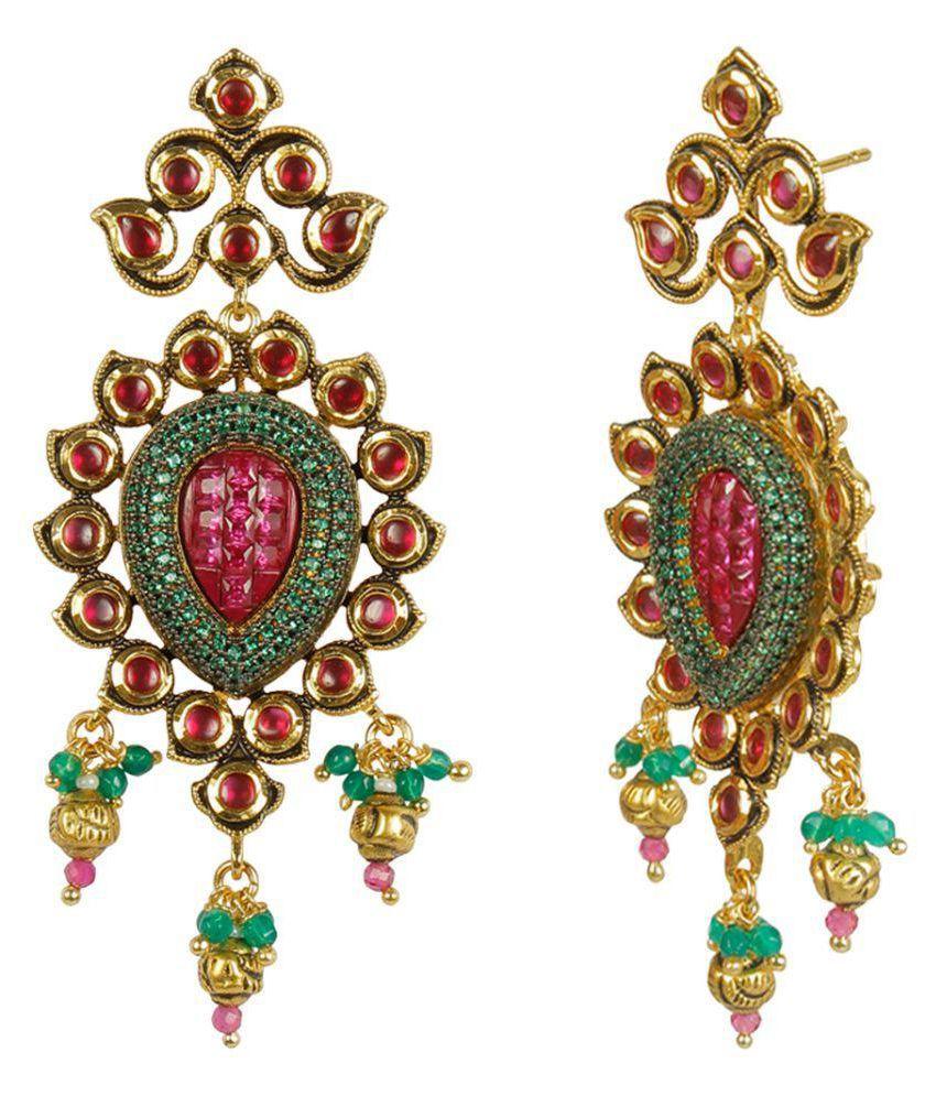 MUCH MORE Beautiful Multi Color Kundan Earrings for Women & Girls Gift Jewelry