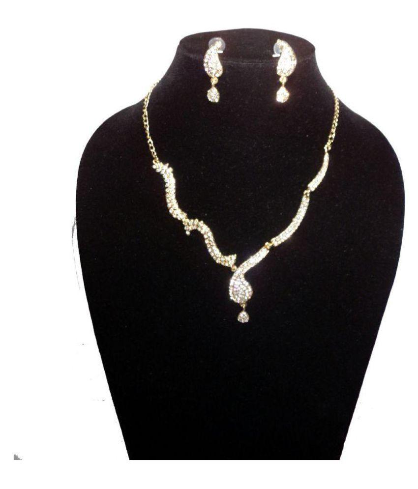 Adity Beautiful and Elegant Rhinestone Jewelry Set(Gold Plated)