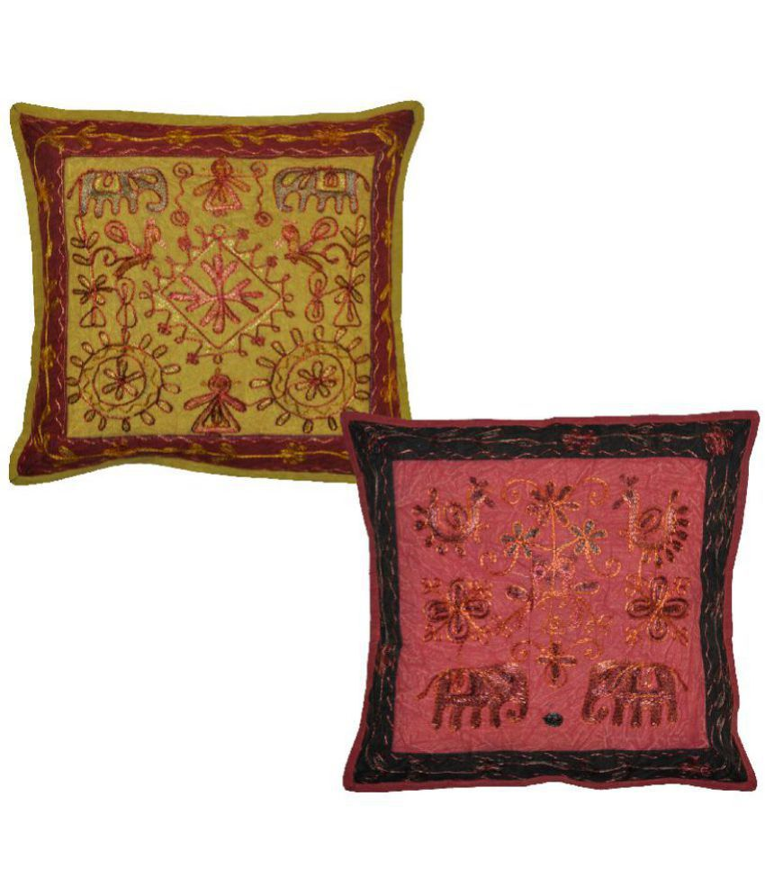 Lal Haveli Set of 2 Others Cushion Covers 40X40 cm (16X16)
