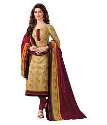 Baalar Beige Cotton Dress Material