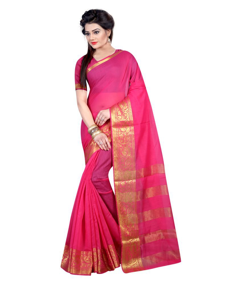 KK Fashion Pink Cotton Silk Saree