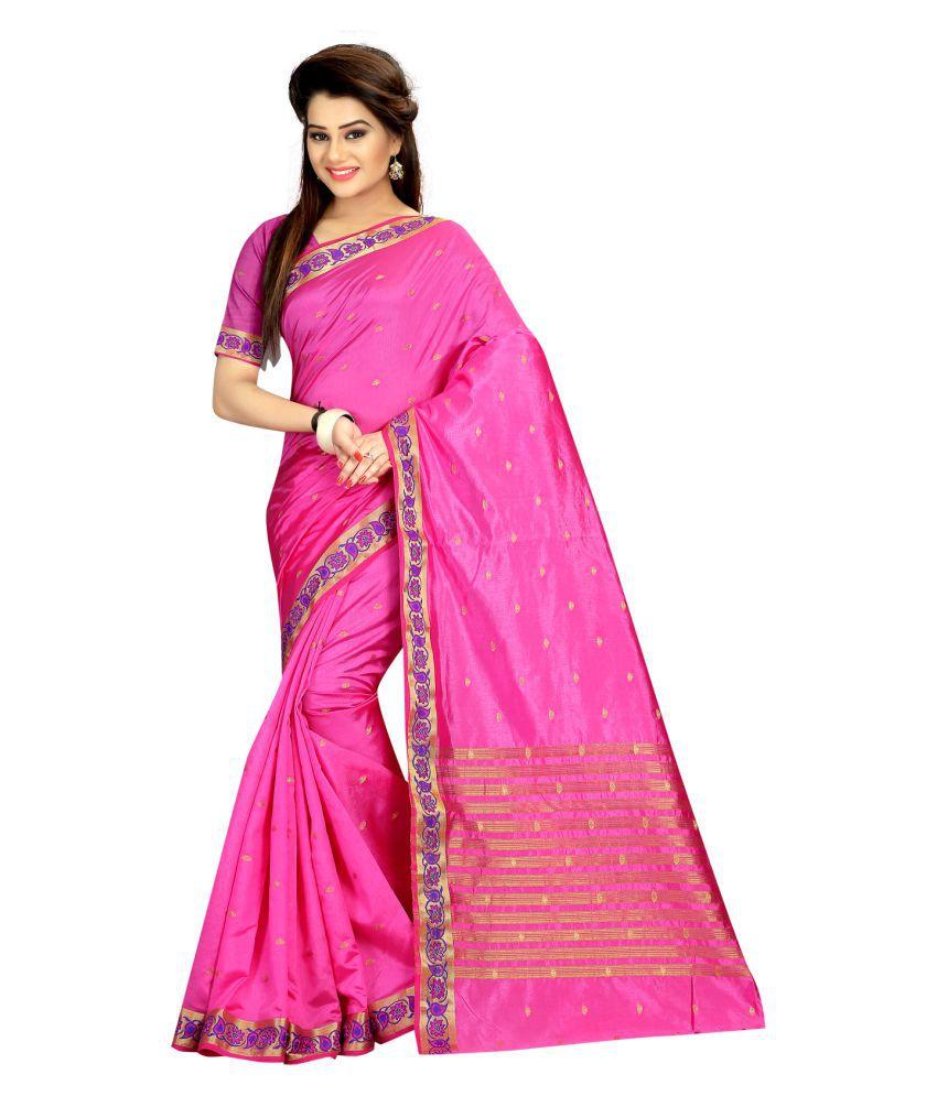 Laxmipati Fashion Pink Art Silk Saree