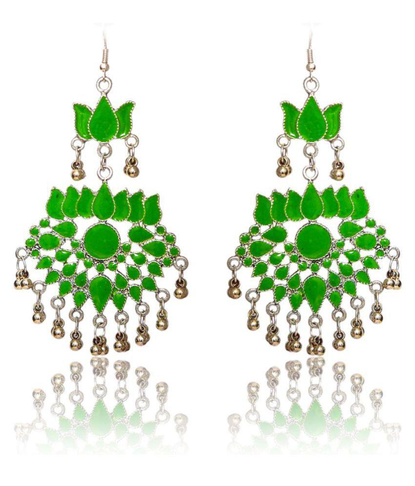 Renaissance Traders German Silver Elegant Designer Green Afghani Earrings