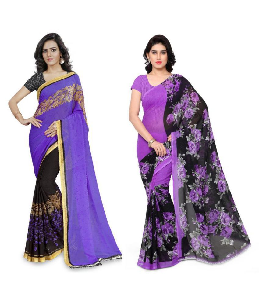 Anand Sarees Multicoloured Georgette Saree Combos
