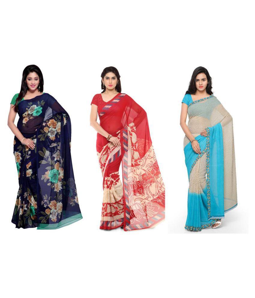 Kashvi Sarees Multicoloured Georgette Saree Combos