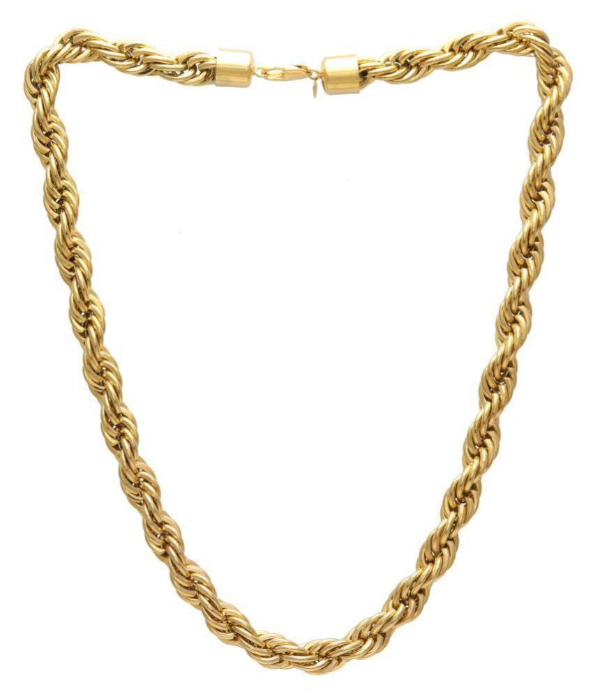 Memoir Brass Gold plated Super thick and heavy rope design necklace for Men