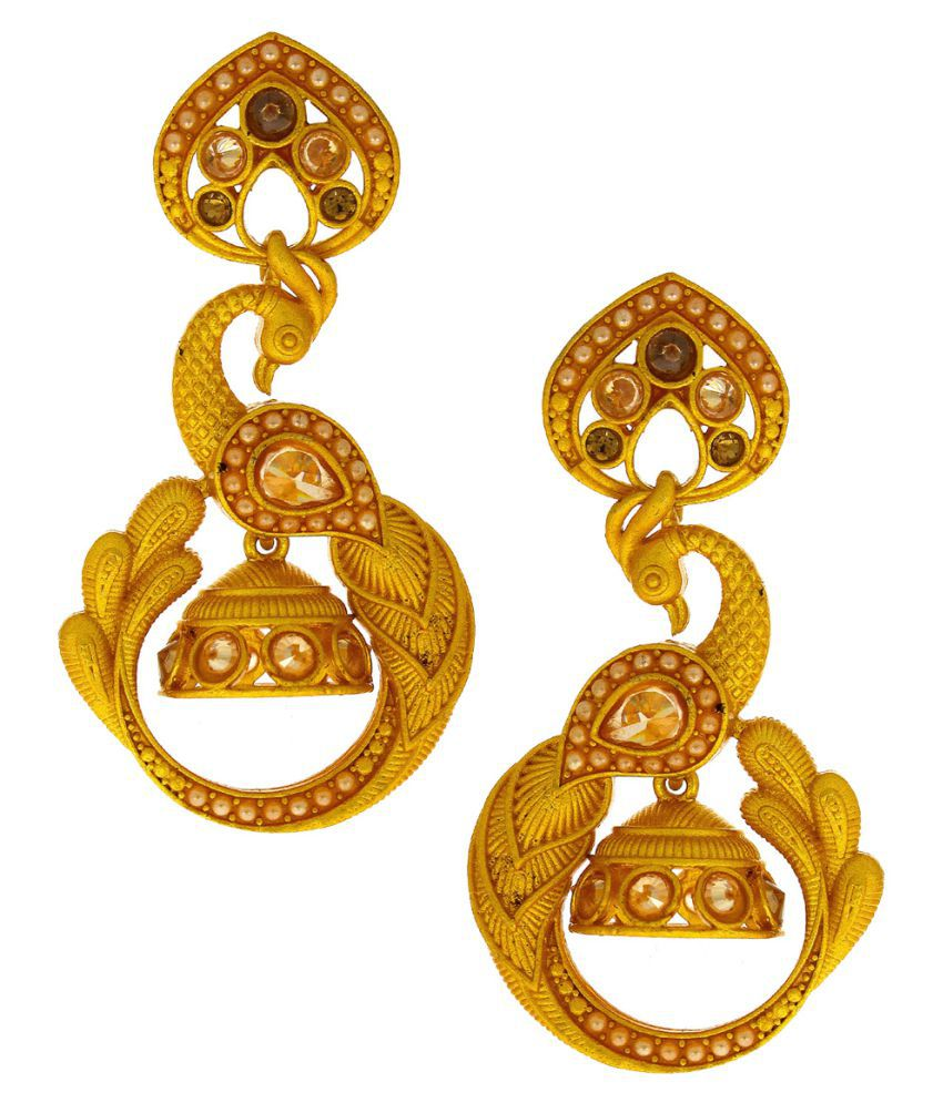 Anuradha Art Golden Matte Finish Styled With Peacock Styled Wonderful Traditional Jhumki/Jhumkas Earrings For Women/Girls