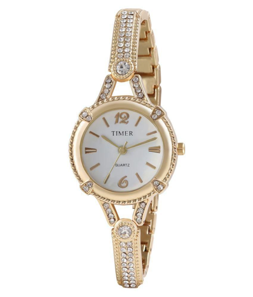 Timer golden ladies studded watch