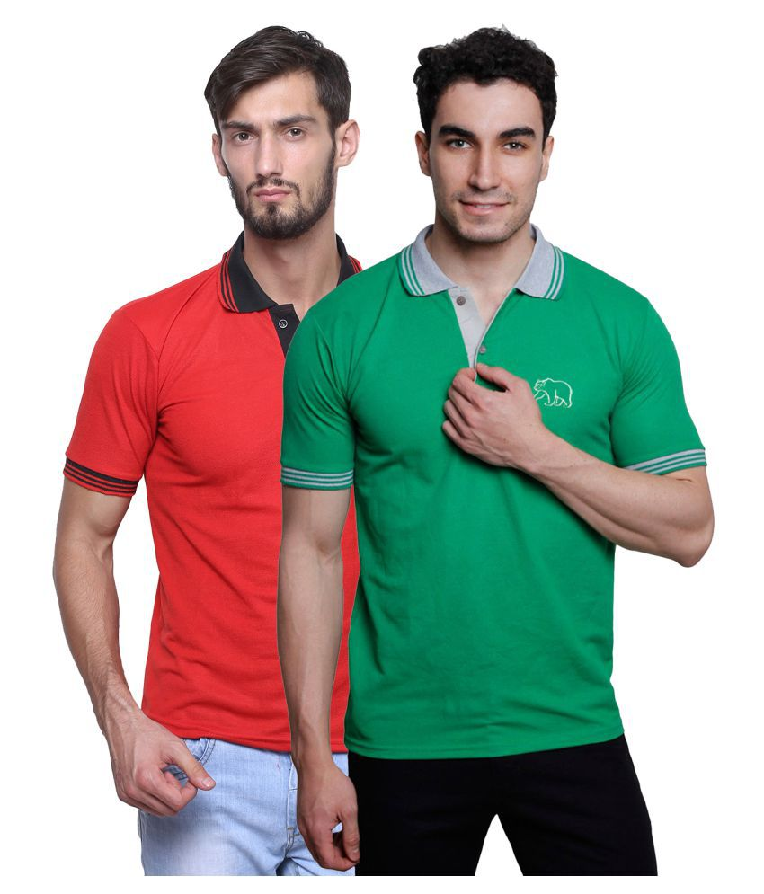 Grand Bear Multi V-Neck T-Shirt Pack of 2