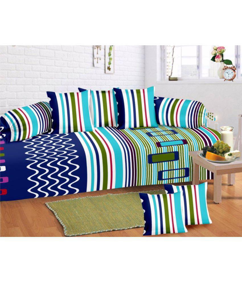 HFI Cotton Blue Stripes Diwan Set 8 Pcs