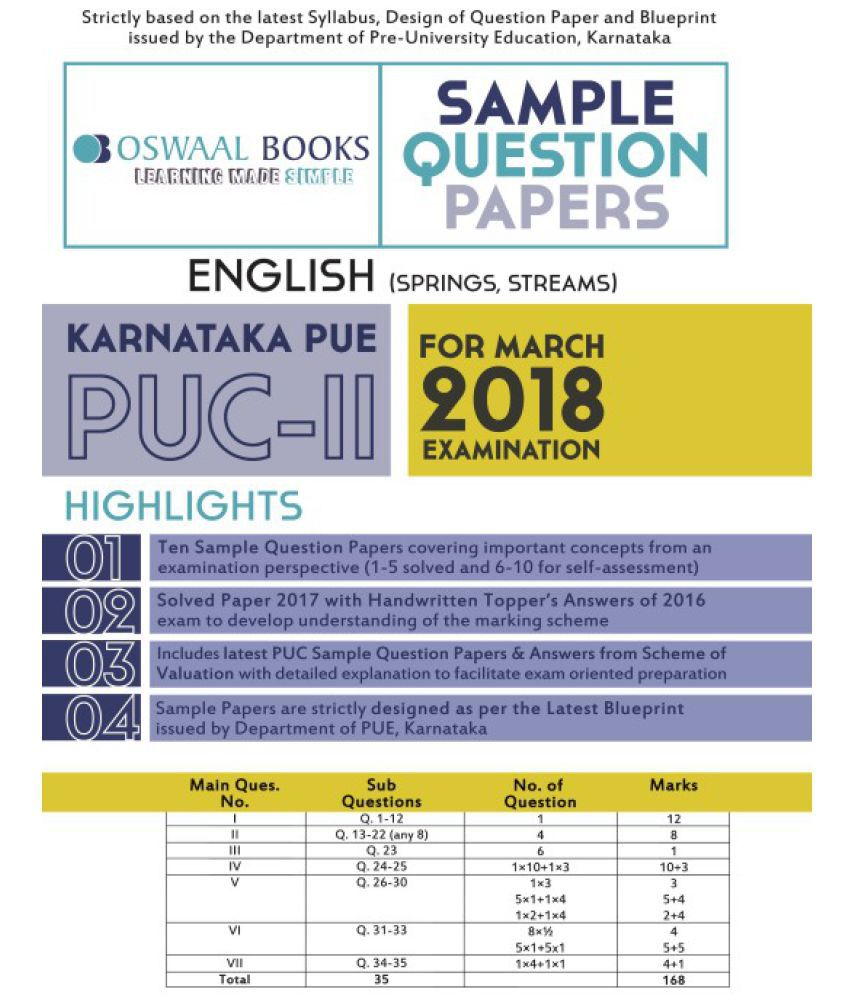 Oswaal karnataka pue sample question papers for puc ii english oswaal karnataka pue sample question papers for puc ii english march 2018 exam malvernweather Images