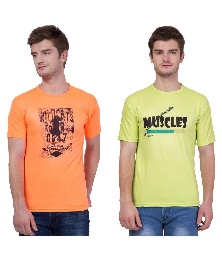 KRISTOF Multi Polyester Viscose T-Shirt Pack of 2