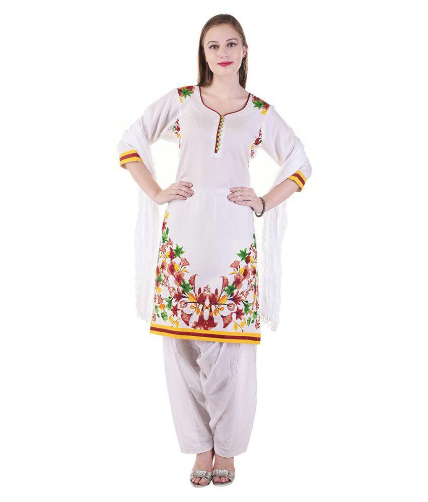 SSK FASHION White Cotton A-line Stitched Suit
