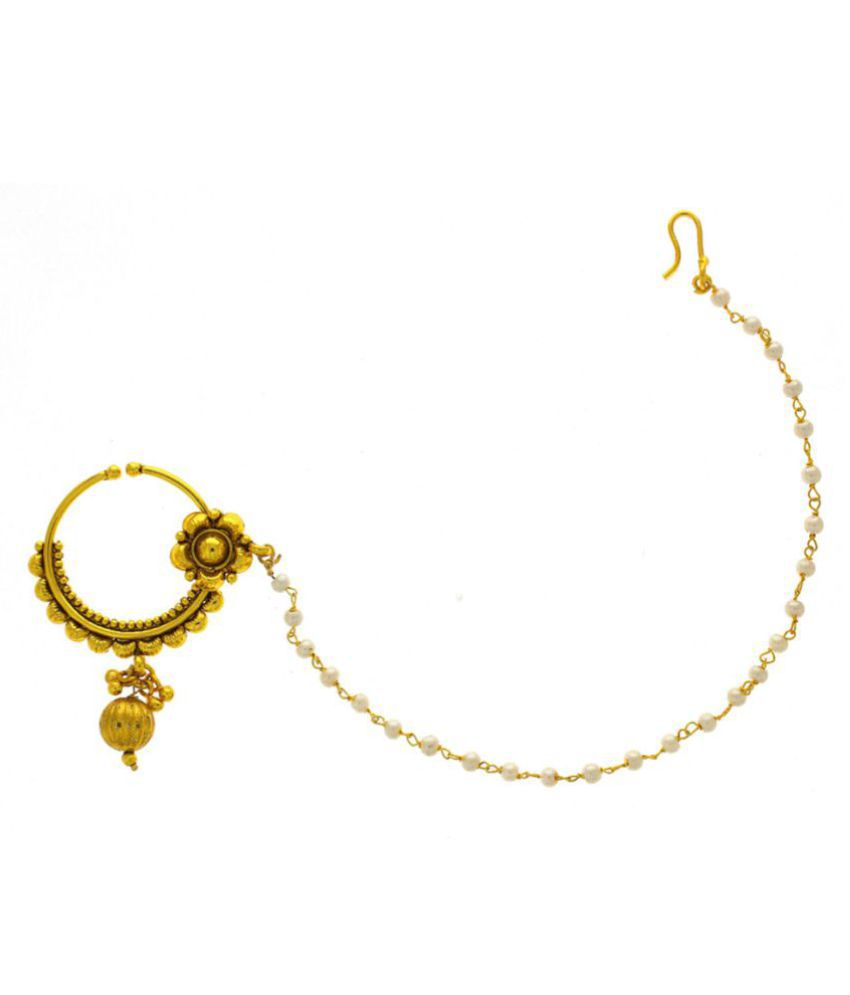 Anuradha Art Golden Finish Simple & Classy Designer Dulhan Nose ...