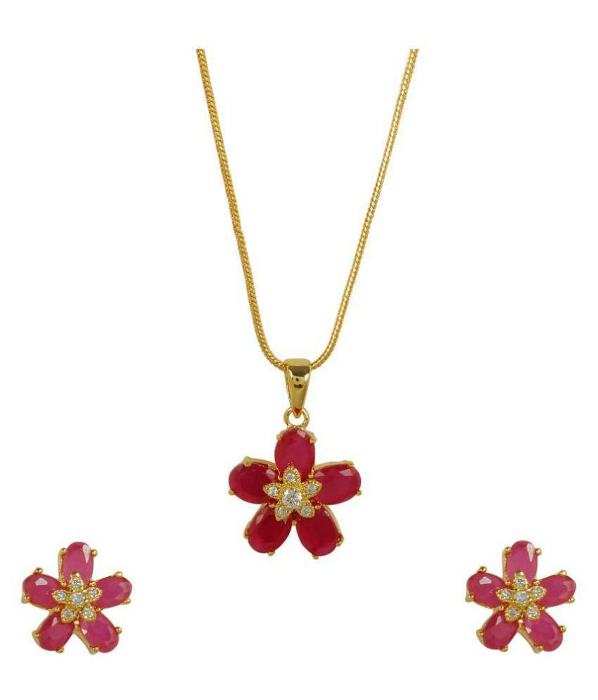 Much more ruby stone work floral design fashion pendant set with much more ruby stone work floral design fashion pendant set with earrings bracelet and ring jewelry aloadofball Images