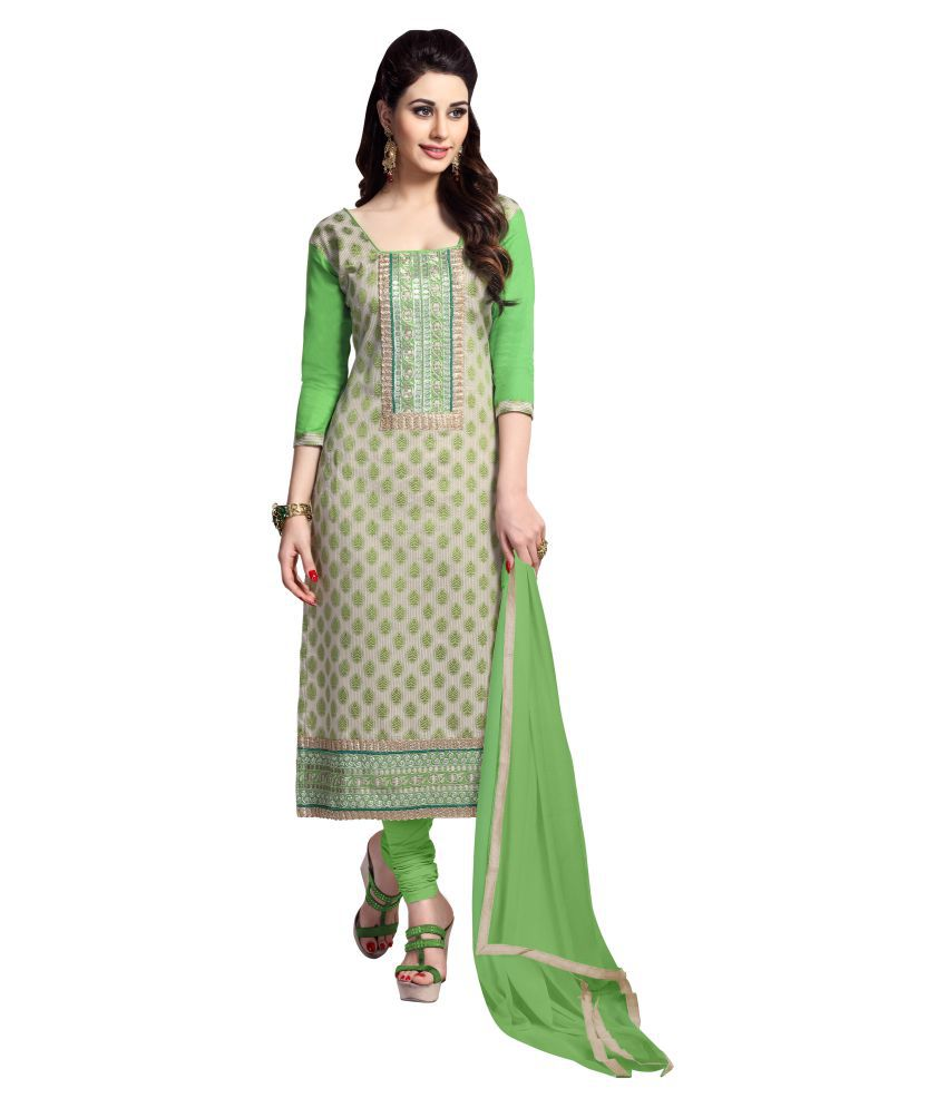 Urban India Green and Grey Cotton Dress Material