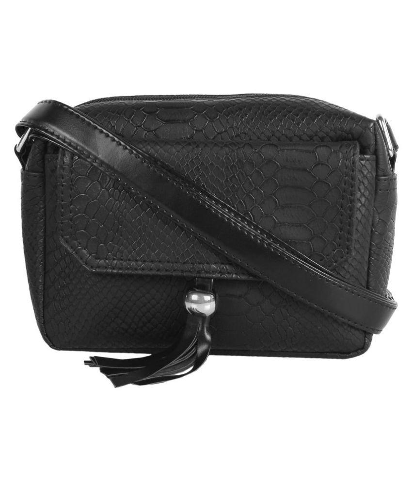 Lychee Bags Black P.U. Sling Bag