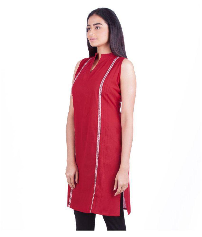 Rene Red Cotton Straight Kurti