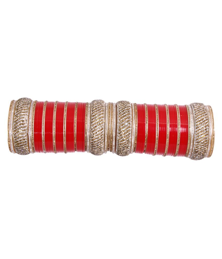 MN Fashion Red Color Beautiful Collection Bridal Wedding Chura For Women