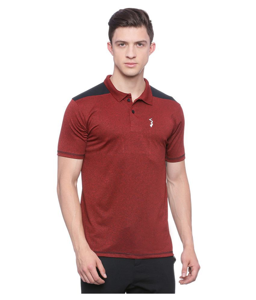 Campus Sutra Red Polyester Polo T-Shirt Single Pack