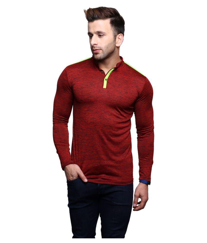Christy World Maroon Henley T-Shirt