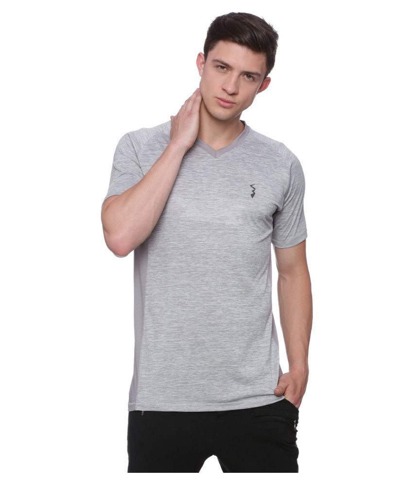 Campus Sutra Grey Polyester T-Shirt Single Pack