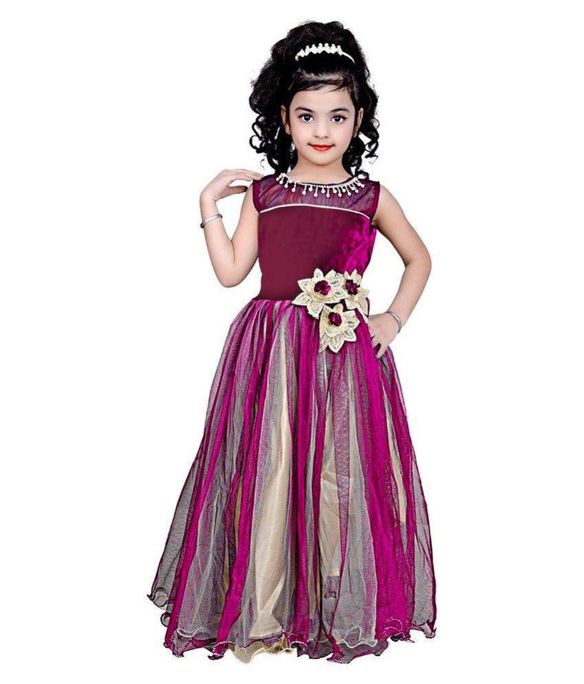 b108f14cdb SR Creation Self Design Rani Pari Net Gown For Girl - Buy SR Creation Self  Design Rani Pari Net Gown For Girl Online at Low Price - Snapdeal