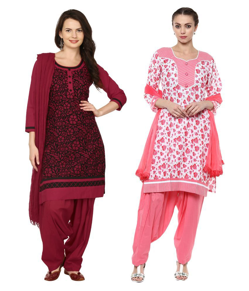 Saundarya Multicoloured Cotton Straight Stitched Suit