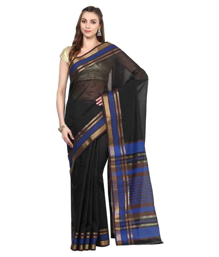 Janasya Black Cotton Blend Saree