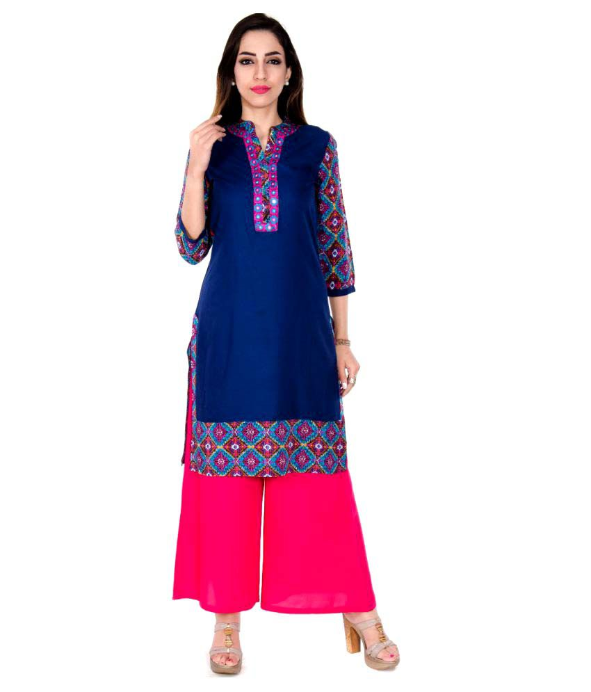 Teej Blue Cotton Straight Stitched Suit