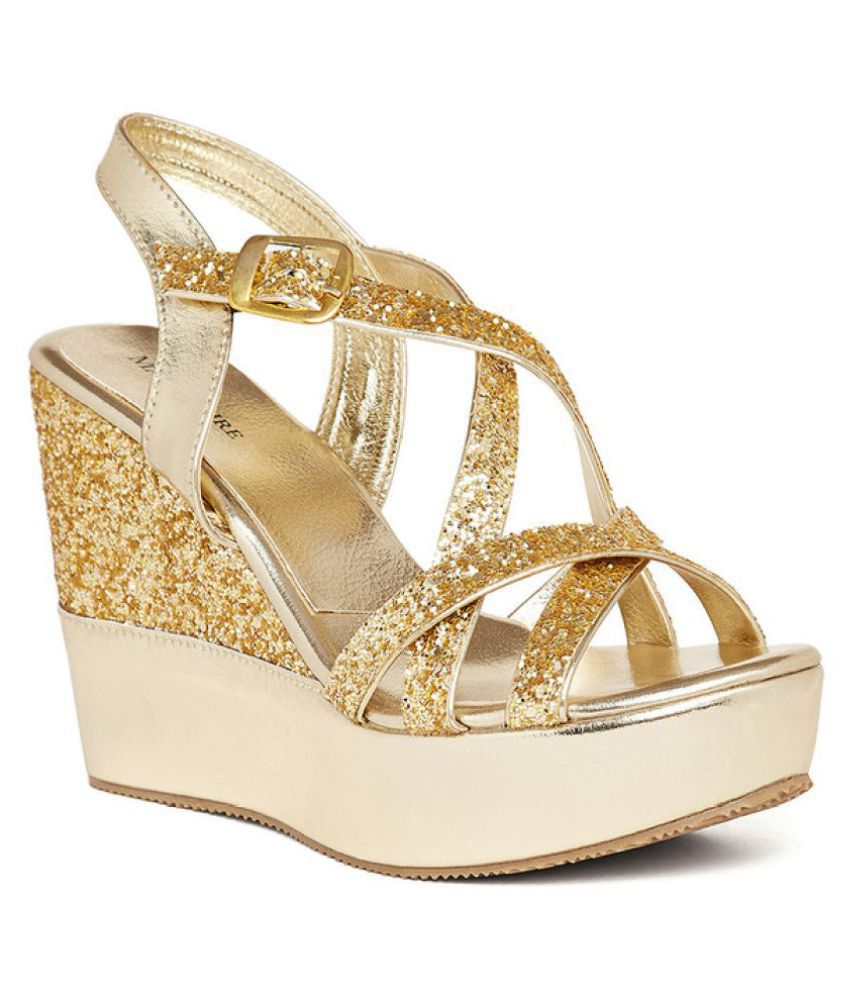 0f4e7a21e3 Marc Loire Gold Wedges Heels Price in India- Buy Marc Loire Gold Wedges  Heels Online at Snapdeal
