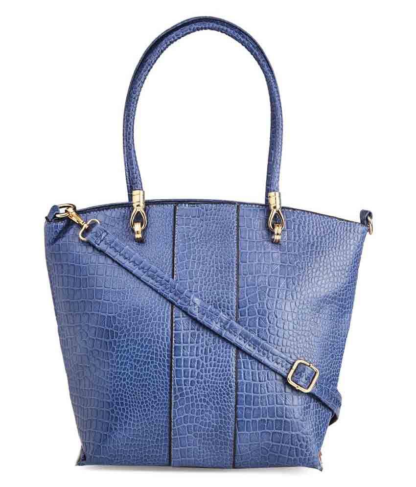 Vero Couture Blue P.U. Tote Bag
