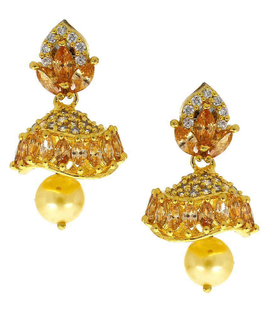 Anuradha Art Very Simple Stylish Wonderful Traditional American Diamonds Stone Jhumkis for Women