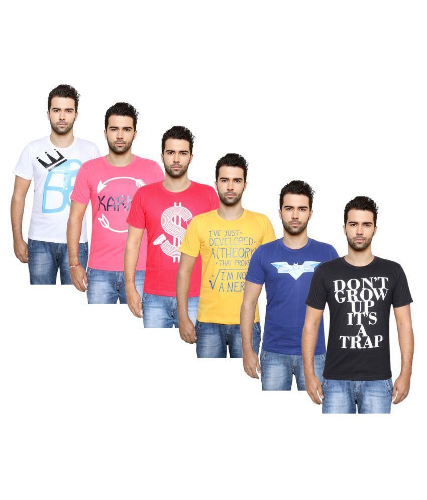 IndiWeaves Multi Round T-Shirt Pack of 6