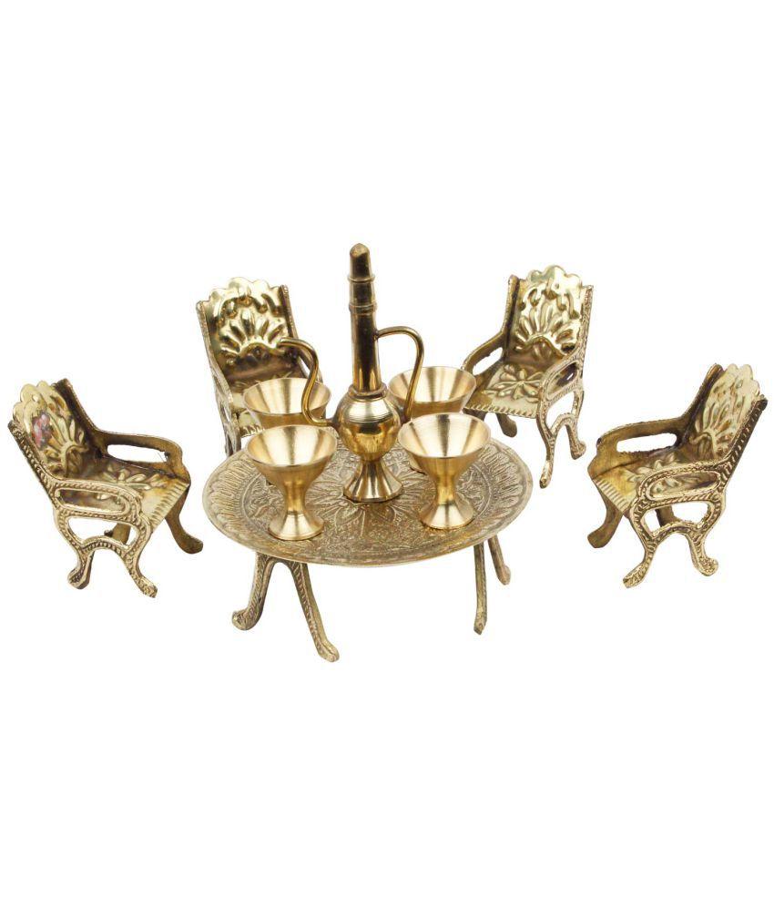 Shilpbazaar Gold Brass Dining Table Chair Maharaja Set