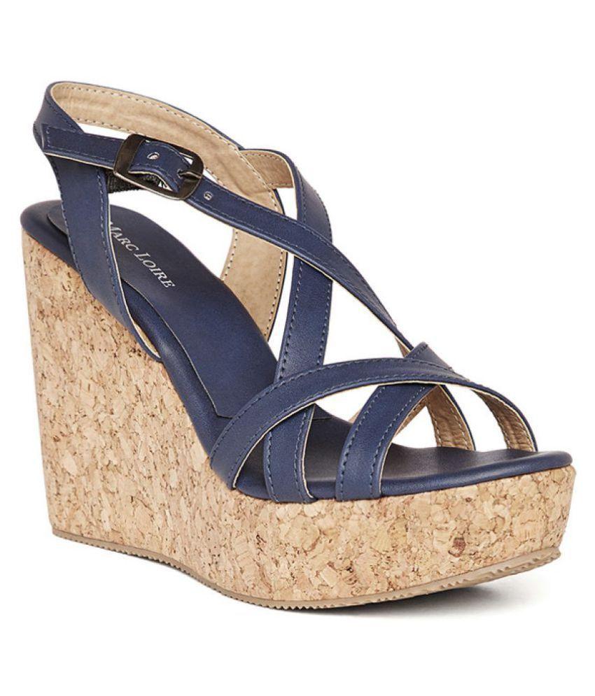 d89f1047f Marc Loire Blue Wedges Heels Price in India- Buy Marc Loire Blue Wedges  Heels Online at Snapdeal