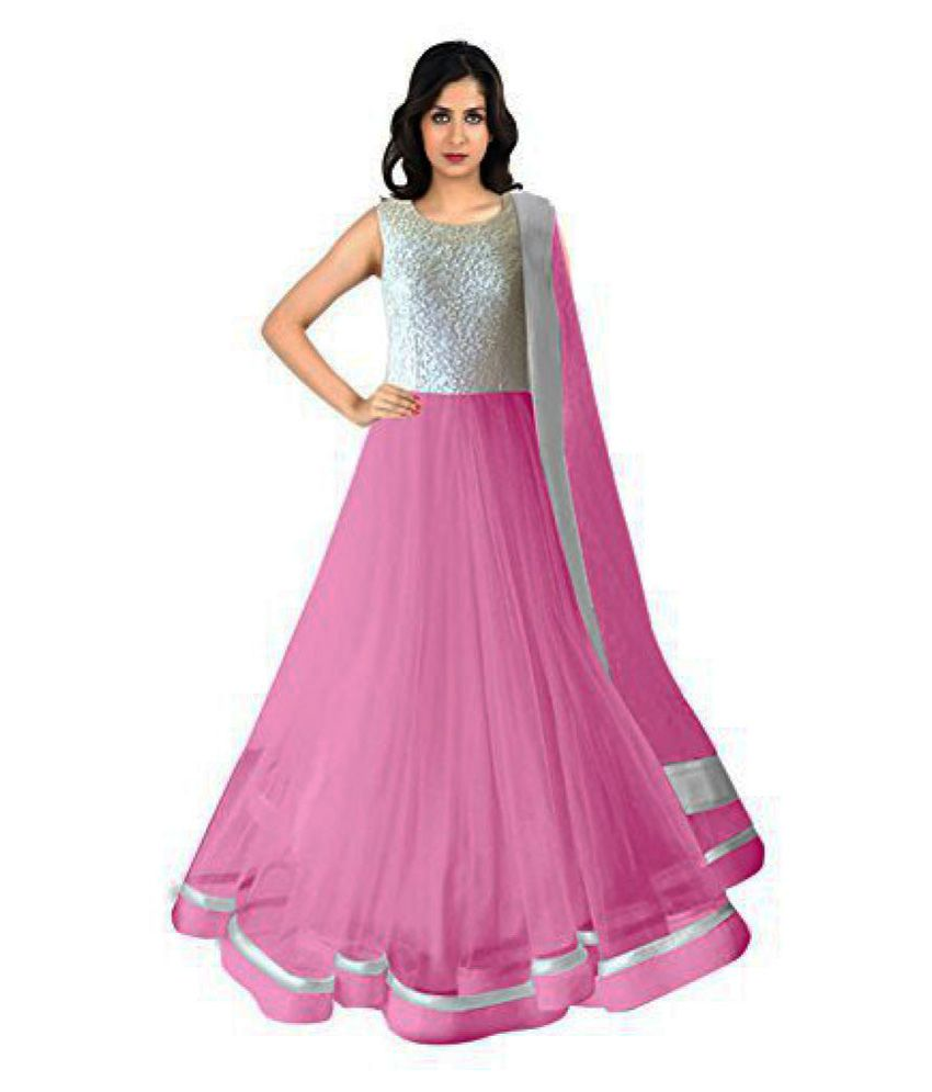 Sanskriti Designers Pink Net Anarkali Gown Semi-Stitched Suit - Buy ...