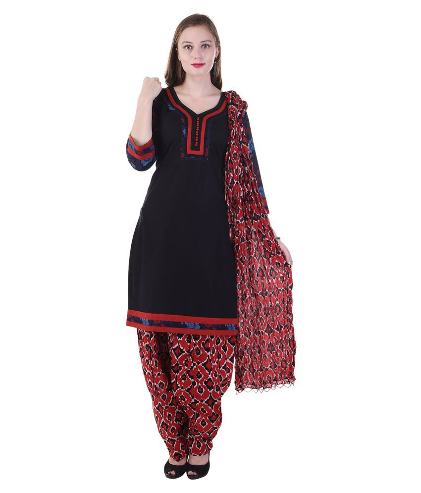 Aafra Fashion Black Cotton Straight Stitched Suit
