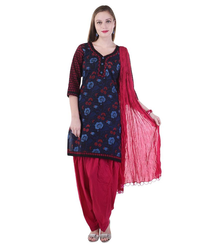Aafra Fashion Multicoloured Cotton Straight Stitched Suit