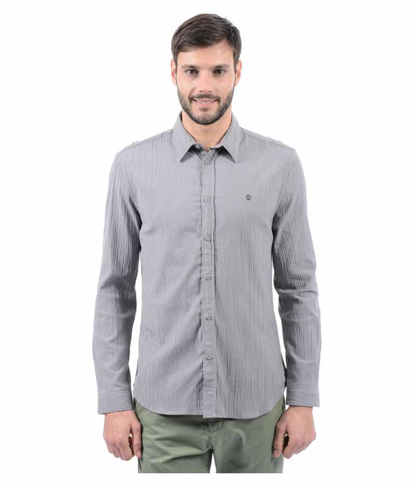 Jack & Jones Grey Casuals Slim Fit Shirt
