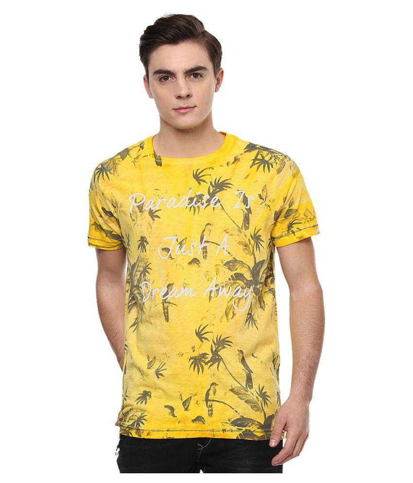 Spykar Yellow Round T-Shirt