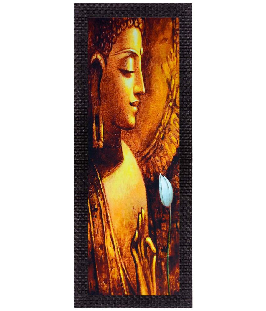 eCraftIndia Almighty Lord Buddha Satin Matt Texture UV Art Wood Painting With Frame Single Piece