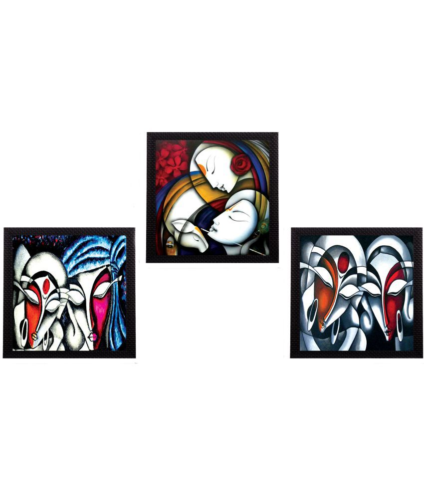 eCraftIndia  Multicolor Wood Painting With Frame Set of 3
