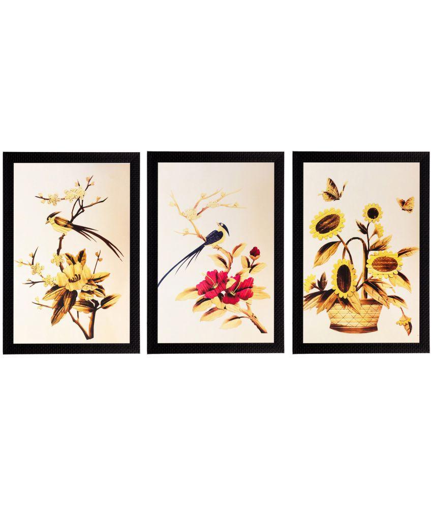 eCraftIndia Yellow Beautiful Floral Satin Matt Texture UV Art Multicolor Wood Painting With Frame Set of 3