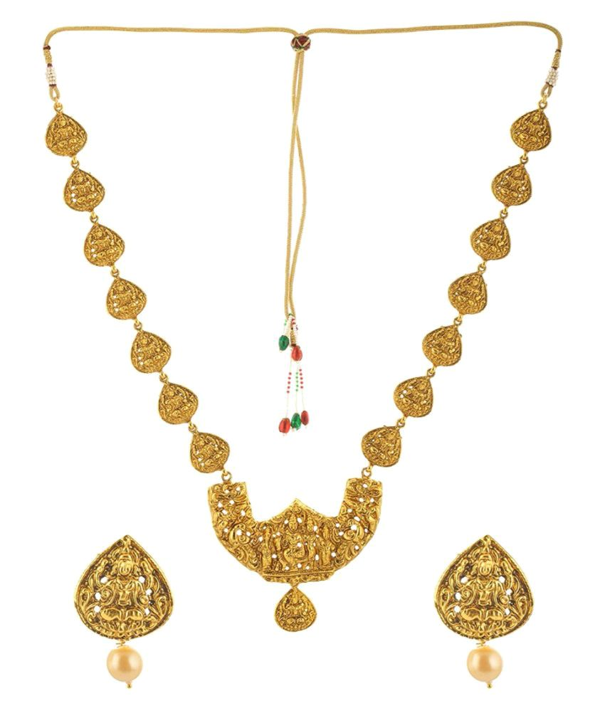 Manav Company Traditional Temple Gold Plated Lakshmi Design Necklaces Set for Women